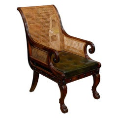 20th Century English Cane Regency Style Library Chair