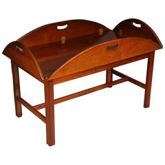 20th Century English Captain's Coffee Table / Table, Yew Tree