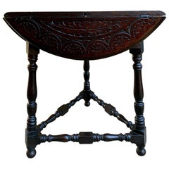 20th Century English Carved Dark Oak Envelope Handkerchief Drop-Leaf Table Round