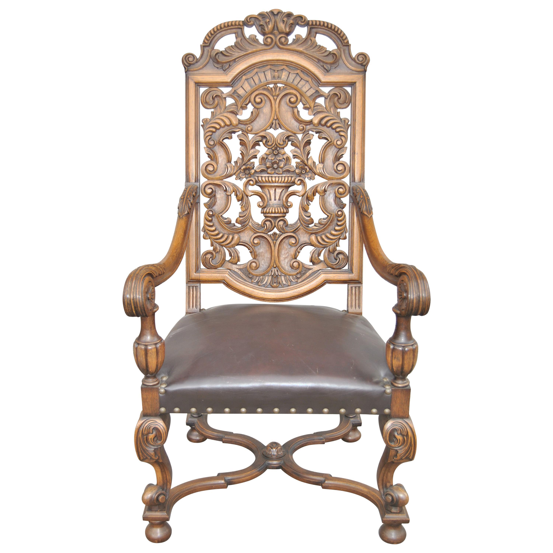 20th Century English Carved Oak Elizabethan Style Armchair