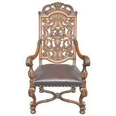 20th Century English Carved Oak Elizabethan Style Armchair