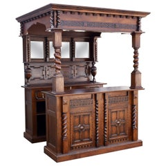 20th Century English Carved Oak Jacoban Style Front and Back Bar