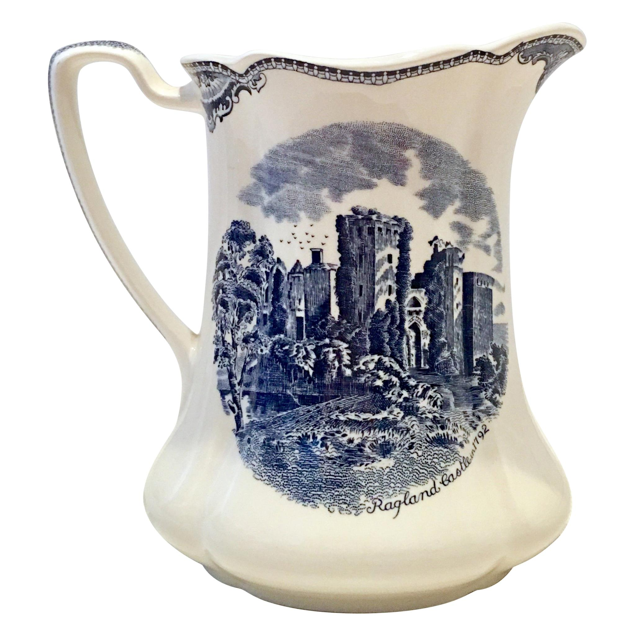 """20th Century English Ceramic """"Old British Castles"""" Pitcher by Johnson Brothers"""