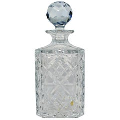 20th Century English Cut Glass Crystal Square Spirit Decanter