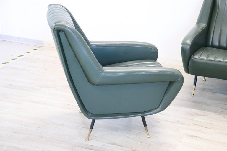 Art Deco 20th Century English Design Green Leather Living Room Set or Salon Suite, 1970s For Sale