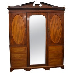 20th Century English Edwardian Mahogany Wardrobe