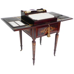 20th Century English Edwardian Rosewood and Marquetry Telescopic Writing Table