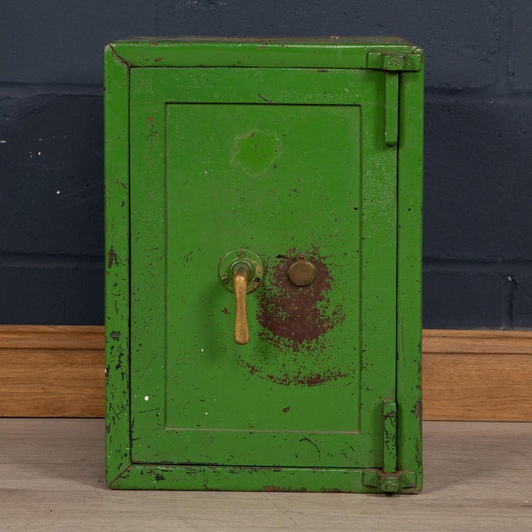 A lovey cast iron fire proof safe in good working order. Complete with its key, it is as fit for purpose today as it was the day it was made. Showing great patina, these safes now make lovely side tables in an Industrial style interior or as a