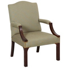 20th Century English Georgian Style Carved Mahogany Antique Lolling Armchair