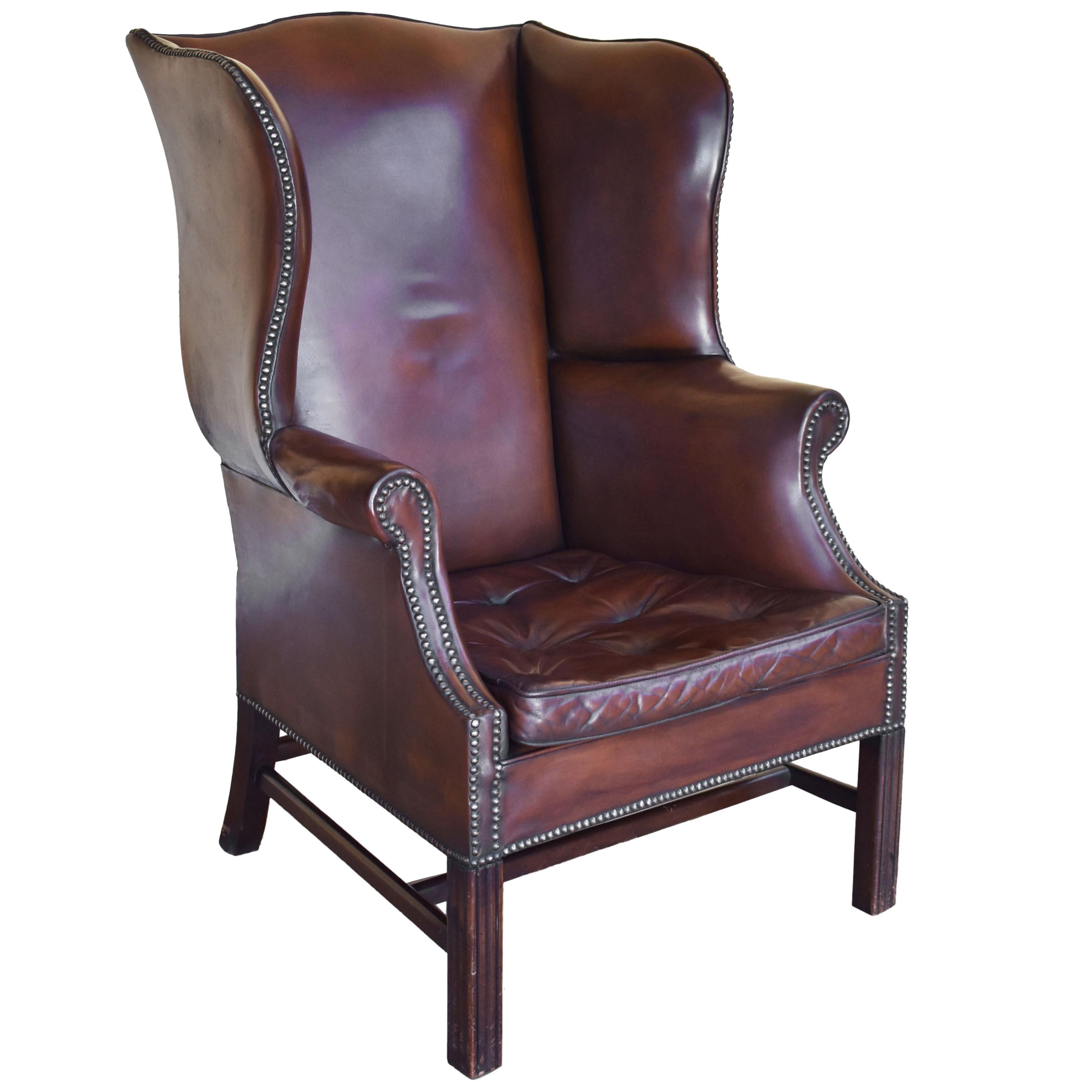 20th Century English Georgian Style Leather Wingback Armchair