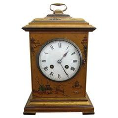 20th Century English Gold Chinoiserie Chiming Mantel Clock, circa 1920