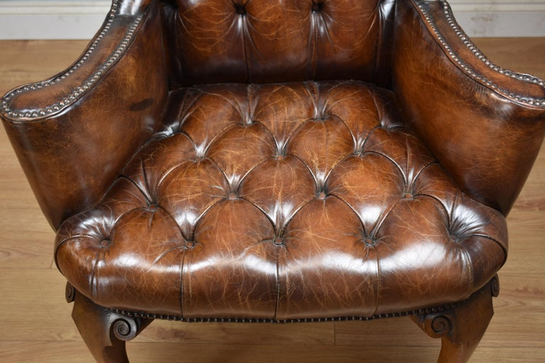 20th Century English Hand Dyed Distressed Brown Leather ...