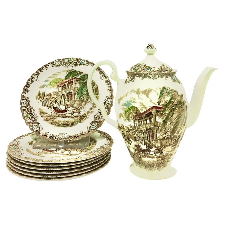 """20th Century English Ironstone Coffee-Dessert Set of 9 """"French Provincial"""" For Sale"""