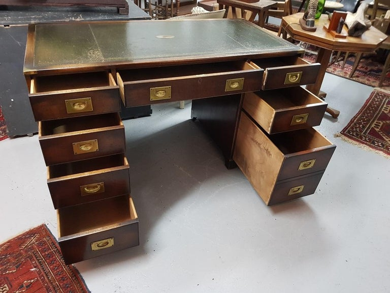 British 20th Century English Mahogany Colored Military or Campaign Desk, by Reprodux For Sale
