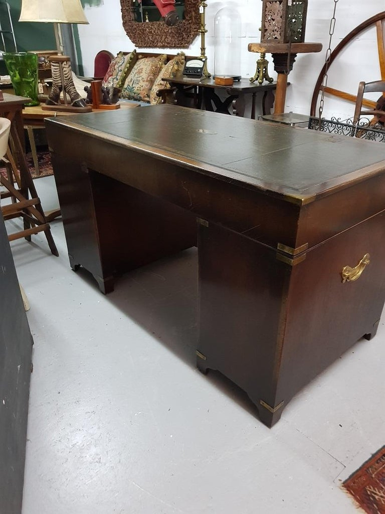 20th Century English Mahogany Colored Military or Campaign Desk, by Reprodux For Sale 2