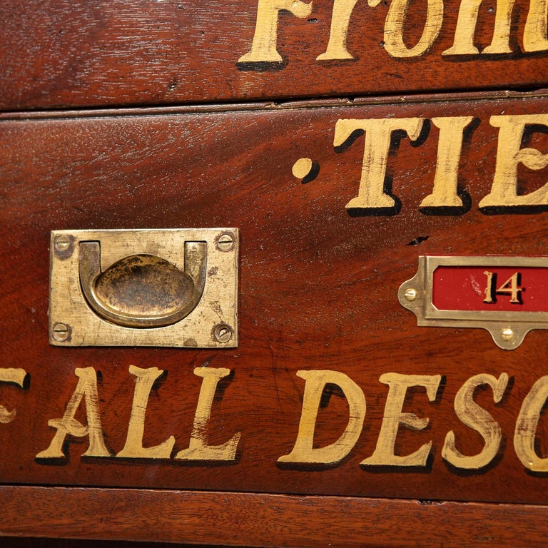 20th Century English Mahogany Fifteen Drawers Haberdashery, 1900s For Sale 9