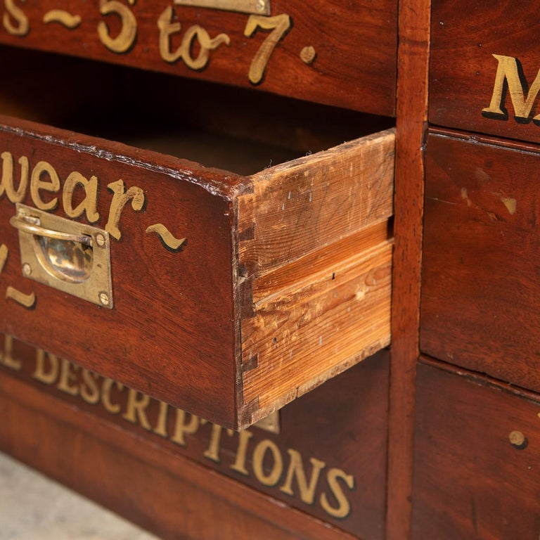 20th Century English Mahogany Fifteen Drawers Haberdashery, 1900s For Sale 11