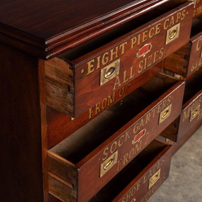 20th Century English Mahogany Fifteen Drawers Haberdashery, 1900s For Sale 2
