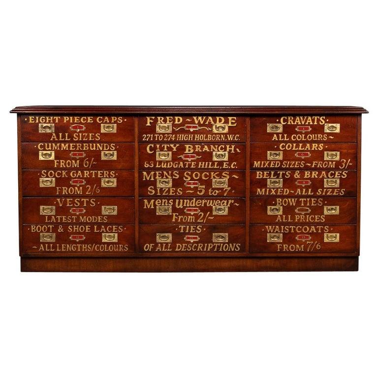 20th Century English Mahogany Fifteen Drawers Haberdashery, 1900s For Sale