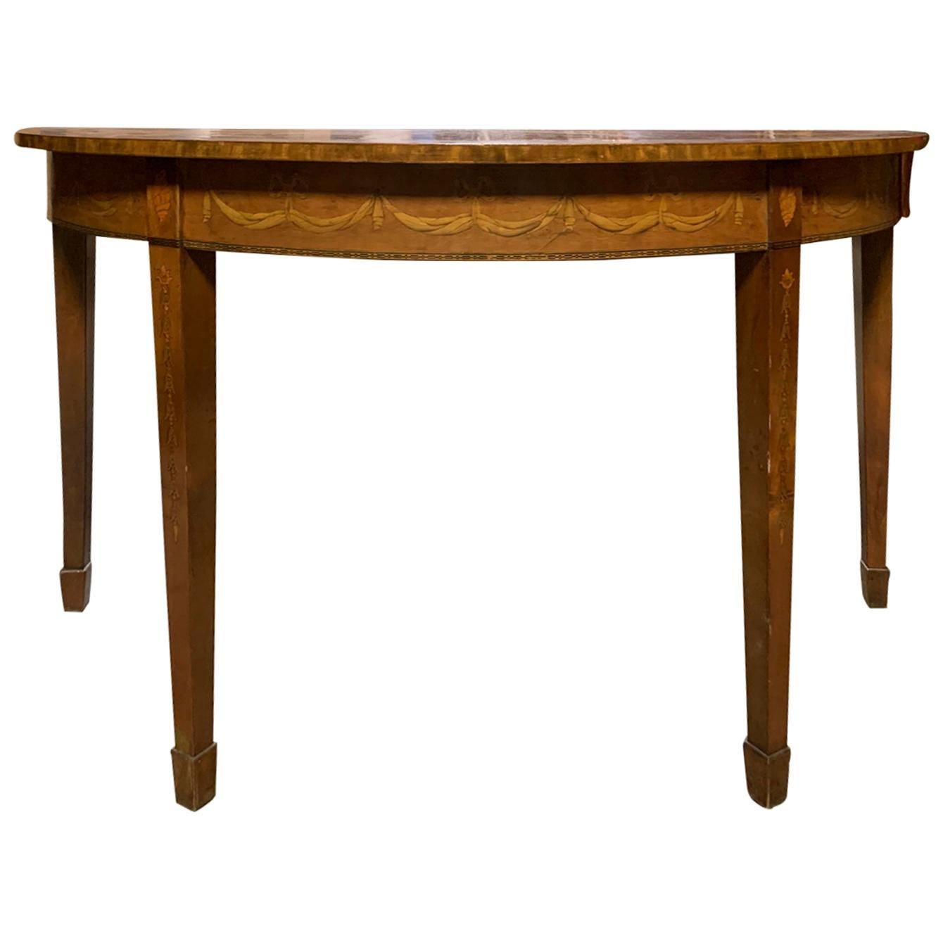 20th Century English Marquetry Demilune Console Table