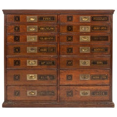20thC English Mahogany and Brass Fitted Doctors Cabinet Drawers, circa 1930