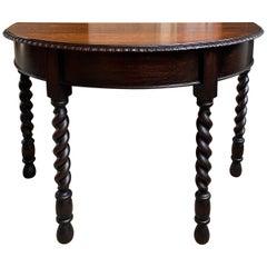 20th Century English Oak Demilune Foyer Sofa Table Barley Twist Jacobean Style