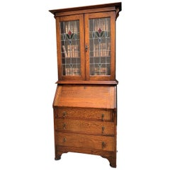 20th Century English Oak Desk Secretary Bureau Leaded Stained Glass Bookcase