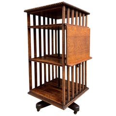 20th Century English Oak Revolving Rolling Bookcase Bookshelf Arts & Crafts