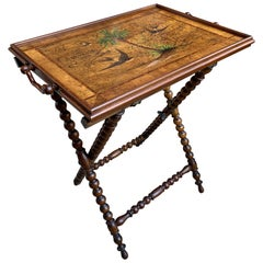 20th Century English Olive Wood Painted Serving Tray Tea Cocktail Table