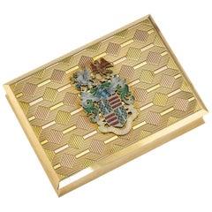 20th Century English Presentation 18-Karat Solid Gold and Enamel Snuff Box