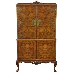 20th Century English Queen Anne Style Burr Walnut Cocktail Cabinet