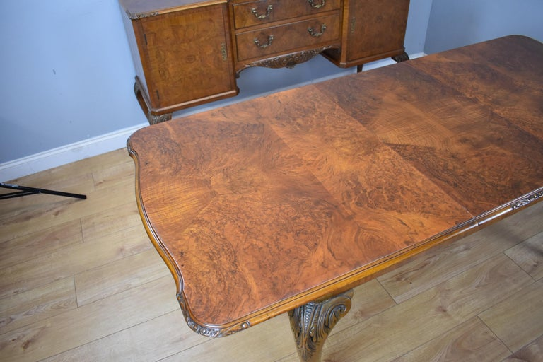 20th Century English Queen Anne Style Burr Walnut Dining Suite For Sale 7