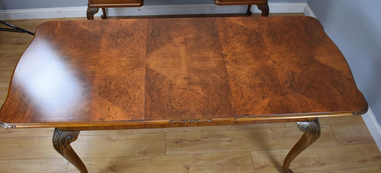 20th Century English Queen Anne Style Burr Walnut Dining Suite For Sale 6