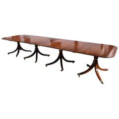 20th Century English Regency Style Mahogany Four Pedestal Dining Table