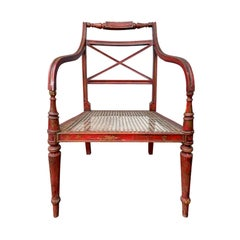 20th Century English Regency Style Red Armchair with Cane Seat
