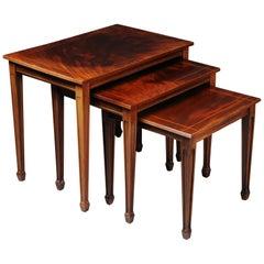 20th Century English Set of 3 Side Tables, Mahogany