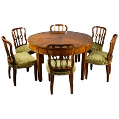 20th Century English Sheraton Style Satinwood and Painted Dining Suite