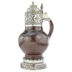 20th Century English Solid Silver & Tigerware Pottery Jug, c.1919