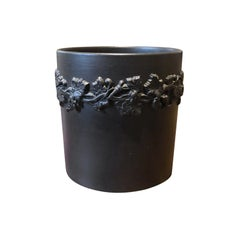 20th Century English Wedgwood Basalt Cup with Grape Vine Detail, Marked