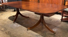 20th Century English Yew Wood Double Pedestal Dining Table with One Leaf