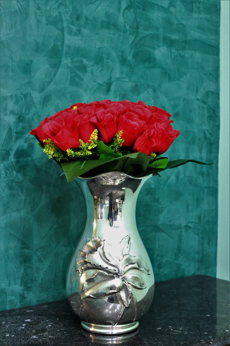 Mid-20th Century 20th Century Engraved Italian Silver Flower Vase, 1950s For Sale