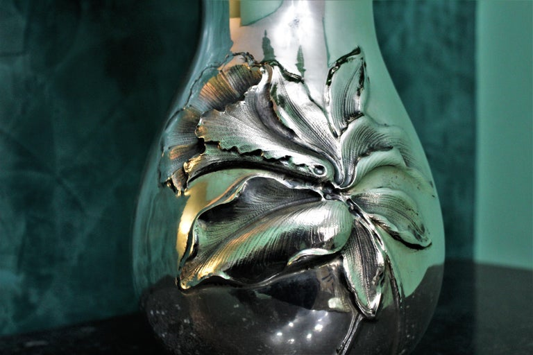 20th Century Engraved Italian Silver Flower Vase, 1950s For Sale 1