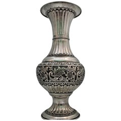 20th Century Engraved Silver Floreal Vase, Italy, 1970s