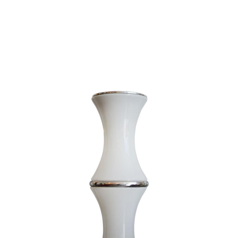 Mid-Century Modern 20th Century Enrico Tronconi Pair of Floor Lamp model Bamboo in Opaline Glass For Sale