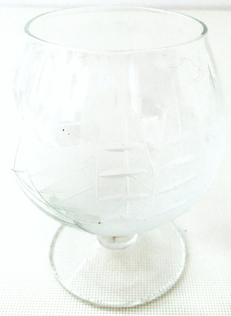 20th Century Etched Blown Glass and Cerused Chrome Wood Tray Drinks Set of 12 For Sale 7