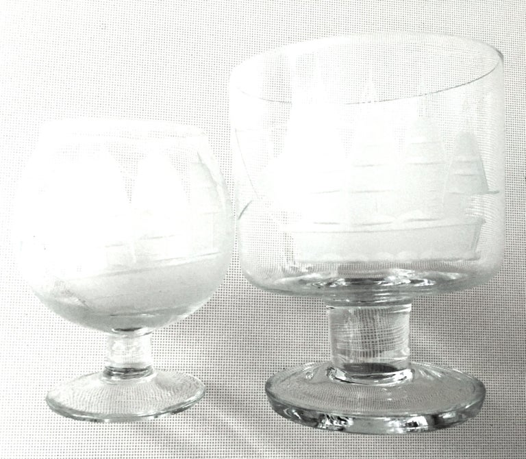 20th Century Etched Blown Glass and Cerused Chrome Wood Tray Drinks Set of 12 For Sale 1