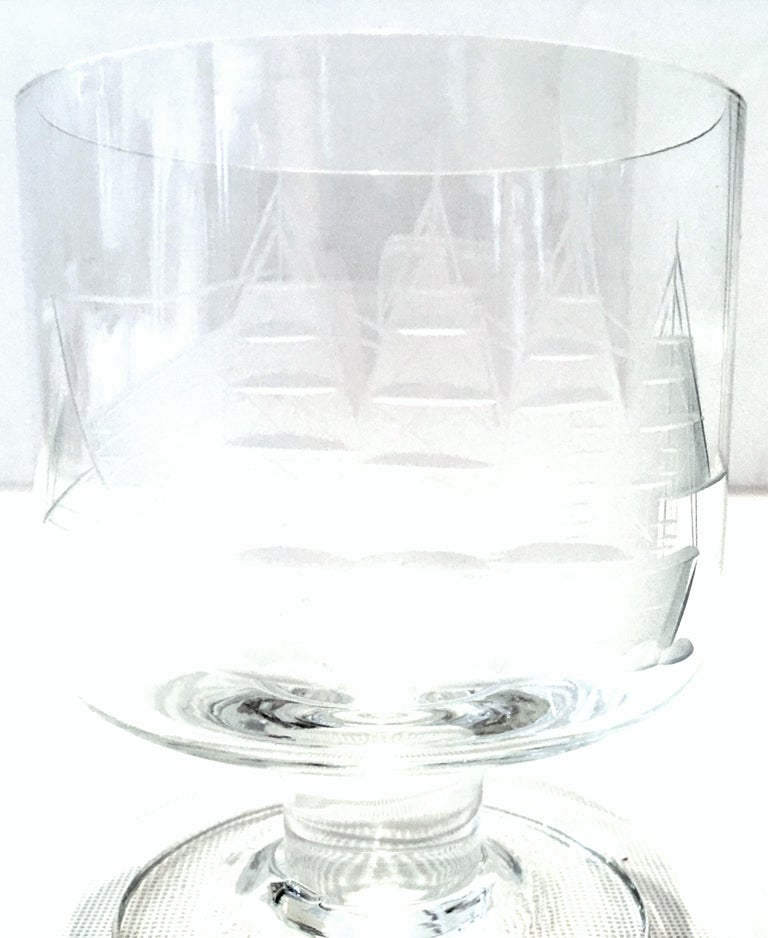 20th Century Etched Blown Glass and Cerused Chrome Wood Tray Drinks Set of 12 For Sale 4