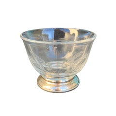 20th Century Etched Glass Divided Bowl on Sterling Silver Base