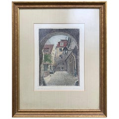 20th Century Etching of Town through Archway in Gilt Frame, Signed Buschbaum