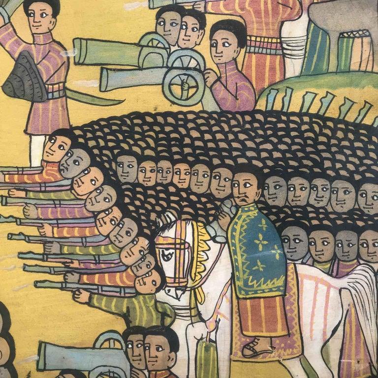 20th Century Ethiopian Battle Scene African Tribal Folk Art Painting For Sale 6